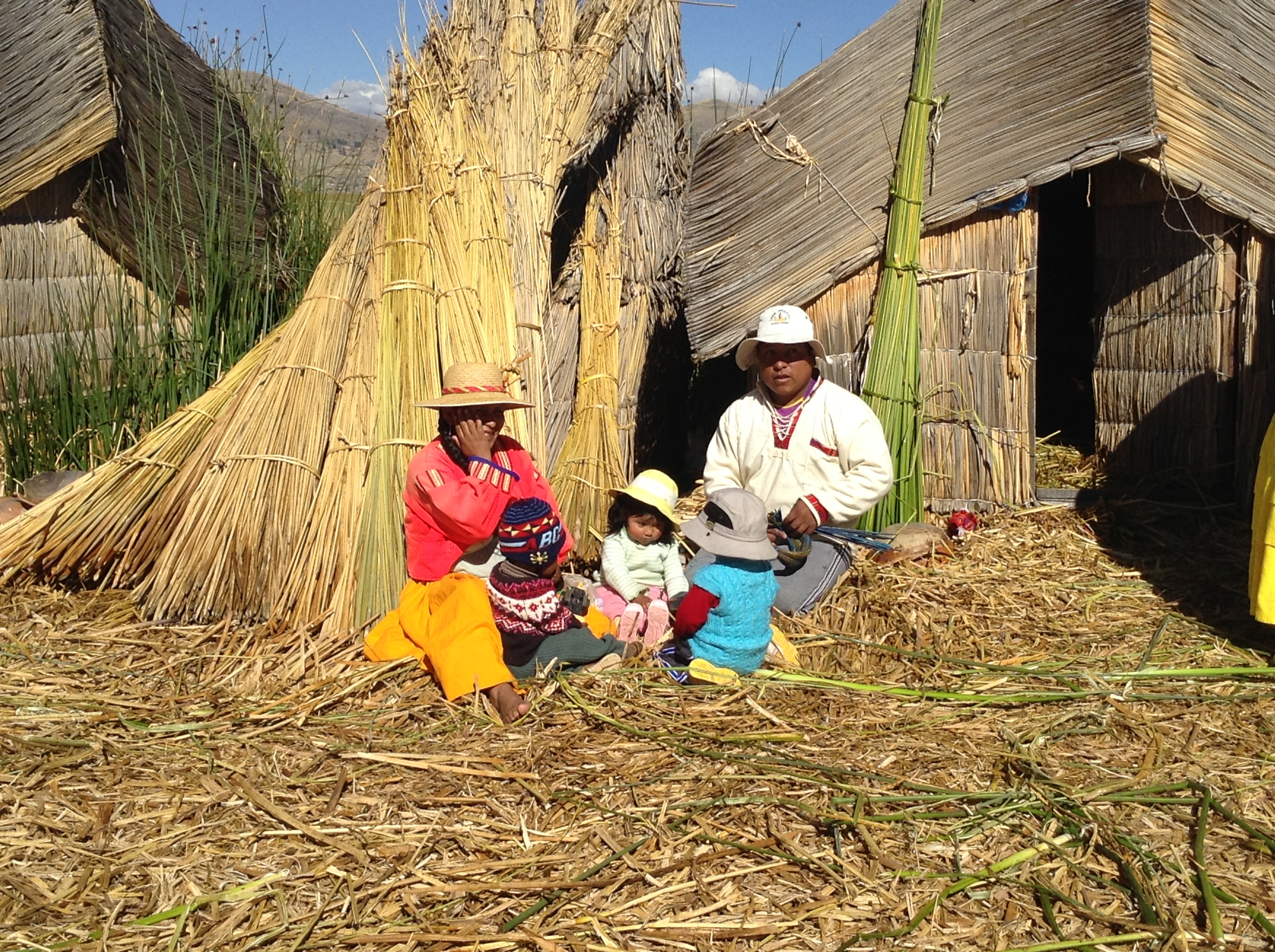 Residents of Suchi Maya, one of the Uros Islands