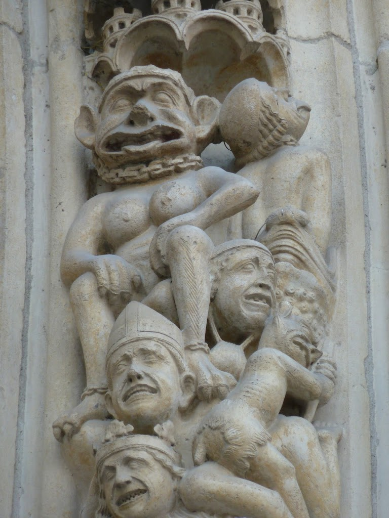 Medieval Sculpture Above Entrance to Notre Dame
